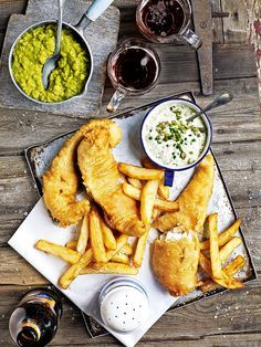 Fish and chips. Debbie Major's ultimate British seaside treat is bought to the table with her brilliant fish and chips recipe served with mushy peas and tartare sauce. Triple Cooked Chips, Chef Taico, Mushy Peas, Beer Battered Fish, Good Food, Yummy Food, Pub Food, Chips Recipe, Restaurants
