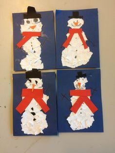 Kunst og håndverk: oppgave om bokstaven s for snømann. Fungerer også om julekort.