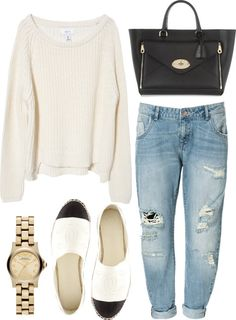 boyfriend jeans, black purse, chanel espadrilles