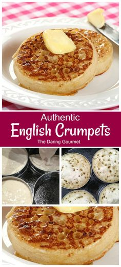 Authentic English Crumpets This recipe for authentic English crumpets yields and amazing texture and fabulous flavor! Delightfully crispy, chewy, and delicately spongy, you're going to fall in love with these homemade crumpets! English Crumpets, English Scones, Homemade Crumpets, Homemade Bagels, Homemade Food, Superfood, Appetizer Recipes, Gourmet Dinner Recipes, Gourmet Desserts