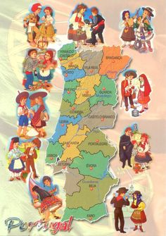 Edig unused, This card is one of my favorites map cards of Portugal. Around the landscape are some of the traditional costumes. Braga Portugal, Visit Portugal, Portugal Travel, Pt Portugal, History Of Portugal, Portuguese Culture, Azores, Vintage Travel Posters, Illustrations