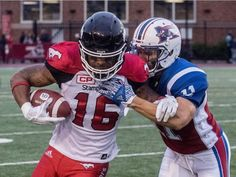 Week July 13 2017 - - -Montreal Alouettes linebacker Chip Cox brings down Calgary Stampeders slotback Marquay McDaniel during first half CFL action at Molson Stadium in Montreal on Friday, July Montreal Alouettes, July 14, Calgary, Football Helmets, Friday, Action, Group Action