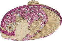 Judith Leiber Pink Fish Crystal Minaudiere Evening Bag.