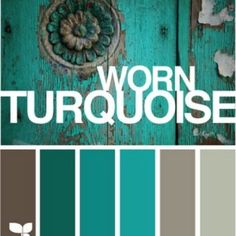 I have a few turqouoise pieces in our new bedroom and I have been going crazy trying to pick a paint color. With all the diffrent blue and peach hues, I think the second from the right will be perfect!!!