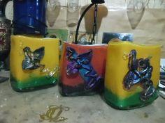 Vaze din sticla prelucrate manual , cu depunere de metal patinat , Semnate de manufactura , cu artisti plastici sticlari si creatori , cadouri unicat