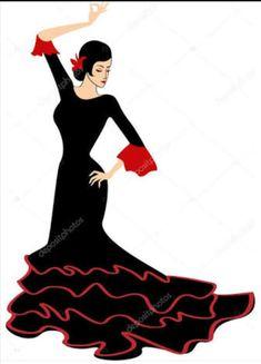 Flamenco Costume, Flamenco Dancers, Dance Logo, Dancer Silhouette, Art Deco Fashion, Fashion Design, Black And White Painting, Dance Poses, Stencil Art
