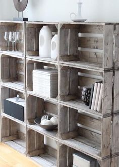 old wooden crate deco make shelf with old wine crates new apple crates old crates idee deco library cheap DIY storage books recycled buy furniture design old style Scandinavian design by goldiemejias Crate Diy, Build Your Own Shelves, Diy Shelves, Diy Home Decor, Shabby Chic Kitchen, Shelves, Crate Shelves, Diy Storage, Bookshelves Diy