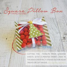By Teneale Williams | Stampin Up! Artisan Blog Hop | Square Pillow Box Thinlits Dies cut using Window Sheet for a clear showcase of your treats or gift inside