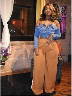 African Fashion Trends: Nigerian Denim Jacket with Palazzo Curvy Girl Fashion, Black Women Fashion, Cute Fashion, Plus Size Fashion, Womens Fashion, Ladies Fashion, Work Fashion, Fashion Fashion, Retro Fashion