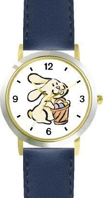 Easter Bunny with Easter Egg Basket Easter Theme - WATCHBUDDY® DELUXE TWO-TONE THEME WATCH - Arabic Numbers - Blue Leather Strap-Children's Size-Small ( Boy's Size & Girl's Size ) WatchBuddy. $49.95. Save 38% Off!