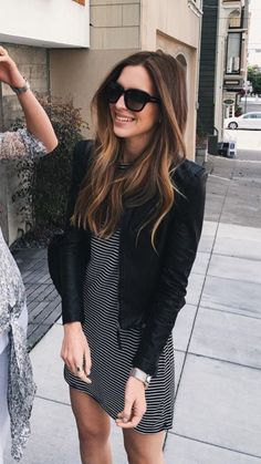 Ombre sombre hair brunette striped dress leather jacket summer outfit street chic fashion style