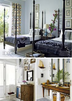 poster twin beds with vertical picture groups Guest Bedrooms, Guest Room, Master Bedroom, Four Poster Bed, Poster Beds, Elle Decor, Sweet Home, House Styles, Twin Beds