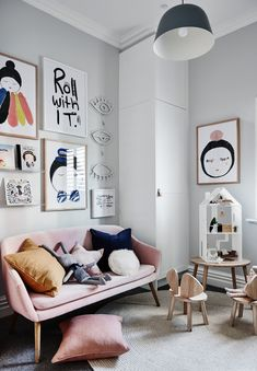 The norsuHOME - Toy Room Photographer: Lisa Cohen Stylist: Beck Simon  Paint: Dulux Terrace White Cabinetry: kaboodle Kitchens Carpet: Godfrey Hirst   Products:  Pax & Hart prints, Electric Confetti Eye neon light, Mint Rhapsody dolls house, GlobeWest Kennedy Tub sofa, norsu cushions, NoFred Table & chairs, Armadillo & Co rug (all available at www.norsu.com.au)