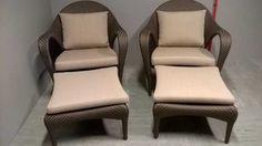 Mörkbrun konstrotting två loungechairs i model Tango , med fotpall. Dagsfärsk nypris på Ekö Möbler för paret med dynor 60 170! tel. 0733555454