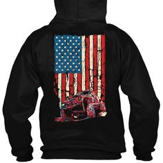 This American Flag Cherokee XJ Jeep Hoodie is equipped with a neoprene beverage holder inside the front pouch pocket and includes a metal bottle opener.
