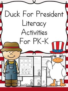 Duck For President Kindergarten Literacy Activities Do you want some fun activities to help teach about the election? Duck For President is a fun book to read. This Literacy Activity pack for Kindergarten (and Preschool/First Grade) will help you! Kindergarten Social Studies, Kindergarten Lesson Plans, Preschool Lessons, Preschool Kindergarten, Preschool Crafts, Kindergarten Reading, Preschool Learning, Kindergarten Worksheets, Preschool Ideas