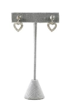 50's__Weiss__Rhinestone Heart Clip-on Earrings