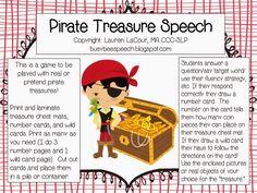 Busy Bee Speech: Pirate Treasure Speech ~ FREEBIE