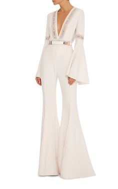 Elie Saab -- Flared Jumpsuit With Deep V-Neck With Lace Trim