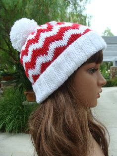 e75c29a3445 Chevron Santa Beanie with fold up brim and Pom-pom