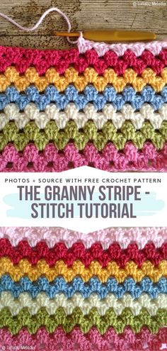 Colorful Textured Stitches Free Crochet Patterns - Crochet Stitches and Edgings - Colorful Textured Stitches Free Crochet Patterns The Granny Stripe – Stitch Tutorial Free Crochet Pattern Granny Stripe Blanket, Crochet Waffle Stitch, Granny Pattern, Crochet Cable, Granny Square Crochet Pattern, Single Crochet Stitch, Easy Crochet, Free Crochet, Tutorial Crochet