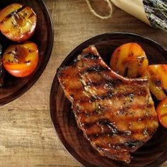 Grilled Lavender-Thyme Pork Chops And Plums With Honey-Vinegar Glaze