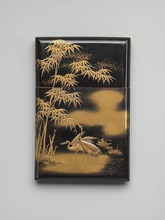 Card Case with Crane and Bamboo, Edo period (1615–1868), mid-19th century, Black lacquer ground with gold and silver hiramaki-e, H.7.3; W.11.1 cm ©The Metropolitan Museum of Art