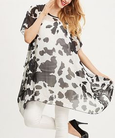Look what I found on #zulily! Black & White Spot Sidetail Tunic #zulilyfinds