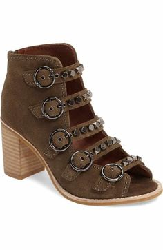 Free shipping and returns on Jeffrey Campbell 'Cors' Suede Peep Toe Bootie (Women) at Nordstrom.com. A sturdy stacked heel lifts a buttery-soft suede bootie cinched with corset-style laces for a vintage-yet-modern look.