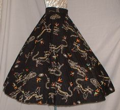 1950s kitties and birds novelty print quilted circle skirt