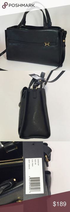 "Halston Heritage black leather satchel Halston Heritage black leather satchel nwt. Black interior with various zipper compartments. Adjustable/removable shoulder strap. Measures 13.5"" wide 8"" high 4.5""deep. Shoulder strap drop approximately 16-18"". Halston Heritage Bags Satchels"