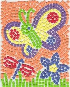 paper mosaics for kids using paint sample strips from paint stores. Could work with construction paper or magazine pieces too!