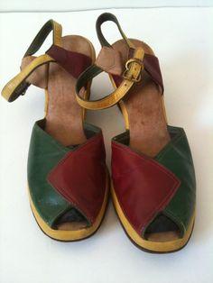 1940s Color Block peep toe Platform Shoes by ParlourVintage, $85.00