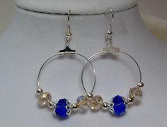 Silver hoop and blue crystal dangle earrings by ABeadforallSeasons, $10.00