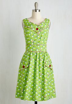 Name It and Win It Holiday Edition Fox Dress. Enter the Holiday Edition of our Name It and Win It Contest! #green #modcloth