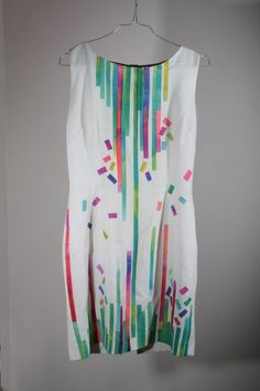 hand painted dress. textile design. i made this by simply painting on paper with sublimation inks... cutting the result in stripes,  and then transferring them with an iron!