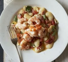 Creamy butter beans with quick fried prawns