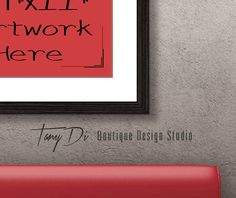 11x14 Red Sofa Wall Interior Black Wood by TanyDiDesignStudio