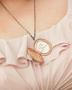 """Bridal Party Gift Idea: make lockets for each attendant. Each locket reads """"I love you for your [attribute]."""" Select a trait that applies to each of the attendants -- be it humor, joy, creativity, dependability, and include it inside."""