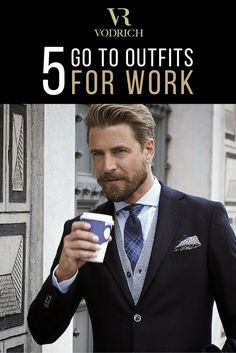 """Part of the VODRICH ethos is """"dressing like the man you want to become"""". We like to think we have you covered for the wristgame side of things. But when it comes to the overall look, it's best to have a few go to styles so you can focus on more important things (like drinking coffee...). Click the image to see our 5 'go to' outfits for the working man. #vodrich"""