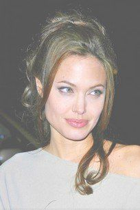 Celebrity Angelina Jolie Long Half-Updo Hair Style