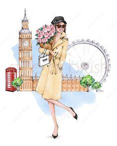 """London is always a good idea"" 🌟💐⛵ London Illustration, Illustration Girl, Illustration Artists, Watercolor Illustration, London Poster, City Drawing, Fashion Wall Art, Fashion Decor, Beach Wall Art"