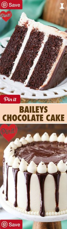 Baileys Chocolate Cake - This Baileys Chocolate Layer Cake combines two of my favorite things - Baileys and chocolate - in one amazing moist and fun layer cake! #delicious #diy #Easy #food #love #recipe #recipes #tutorial #yummy @mabarto - Make sure to follow cause we post alot of food recipes and DIY we post Food and drinks gifts animals and pets and sometimes art and of course Diy and crafts films music garden hair and beauty and make up health and fitness and yes we do post women's…