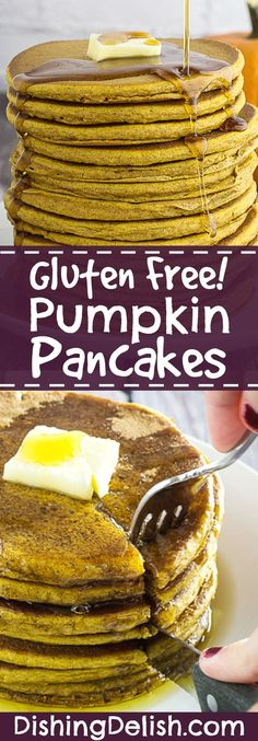 The Best Gluten Free Pumpkin Pancakes are perfect for a chilly autumn breakfast. Soft, fluffy gluten free pancakes made with real pumpkin and pumpkin spice, then topped with sweet maple syrup. As an added bonus, your house will smell amazing while they're cooking!