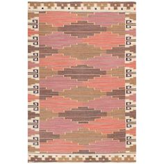 Mid 20th c. Vintage Swedish Flat Woven Kilim... by; Marta Maas Fjatterstorm, in pinkish purple-berry reds & earth tones... Sweden
