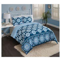 Blue Medallion Karma Love Reversible Comforter Set (Twin XL) 2pc - Vue