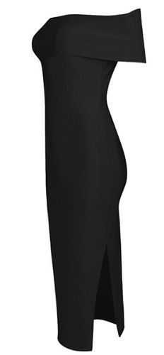 Desiree Black Off The Shoulder Bandage Dress