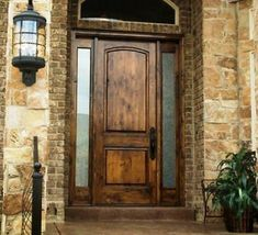"""36x96 Knotty Alder 2 Panel Square Top Tuscan Style. (2) 14"""" full lite sidelites with clear double pane insulated glass. Pre-hung on 4-9/16""""knotty alder jambs. Adjustable threshold. Door Size:(1) 36"""" x 96"""" x 1-3/4"""" 2 Panel Square Top. Entry Door With Sidelights, Wood Entry Doors, Wood Exterior Door, Rustic Doors, Stone Exterior, Solid Wood Front Doors, Rustic Exterior, Door Entryway, Exterior Cladding"""