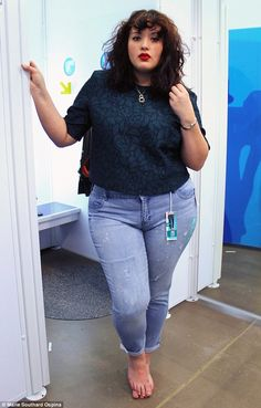 """'Dreaded camel toe': In reference to Old Navy's Plus Women's Skinny Jeans (pictured), the plus-size writer said: 'Digging the relaxed boyfriend style. Not digging the """"digging"""" at the hips and the dreaded camel toe'"""