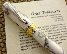 Pen Rollerball pen Handcrafted Pen White with Gold Vein